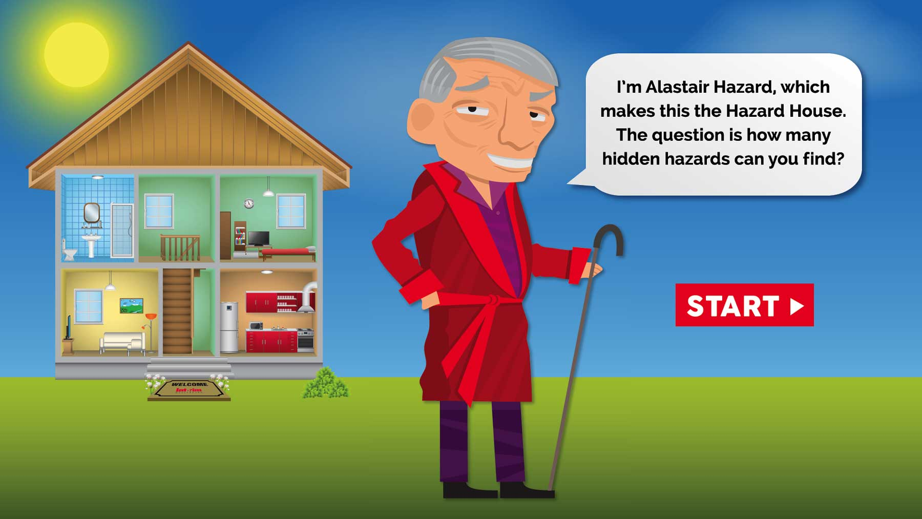 I'm Alastair Hazard, which makes this the Hazard House.  The question is how many hidden hazards can you find? Click to start the hidden hazards game