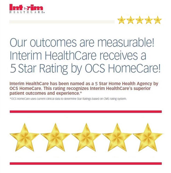 Interim HealthCare recieves 5 Star Rating by OCS Homecare