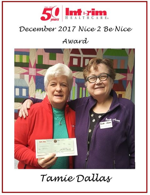 December Nice 2 Be Nice Award - Tammie Dallas
