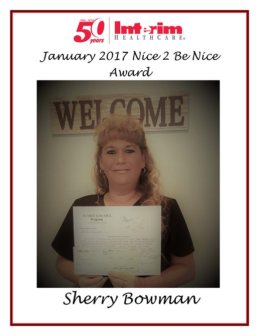 Nice 2 Be Nice Award 2017 - Sherry Bowman