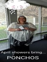 April Showers bring PONCHOS. We have ponchos for all the field staff employees who come in to the office to pick one up.