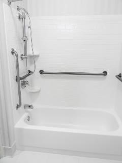 This Grab Bar Layout, Shown On A Typical Bath Surround, Features A Vertical  Bar
