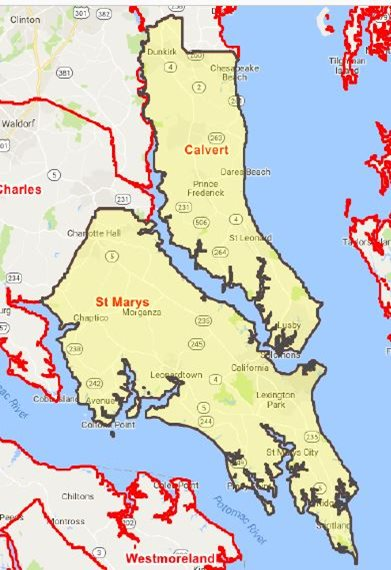 South Maryland Home Care Service Map
